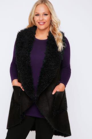 Black Shearling Waterfall Gilet With Pockets