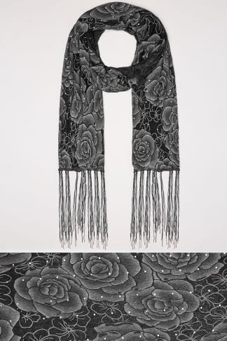 Scarves Black Sheer Floral Print Scarf With Diamante Details 152476