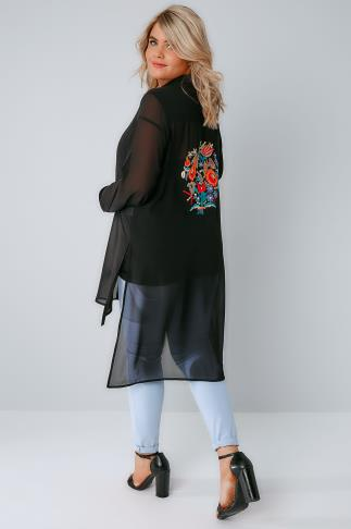 Black Sheer Longline Shirt With Bright Embroidery Back Detail & Step Hem 156110