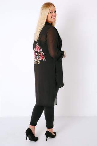 Black Sheer Longline Shirt With Embroidered Back & Step Hem