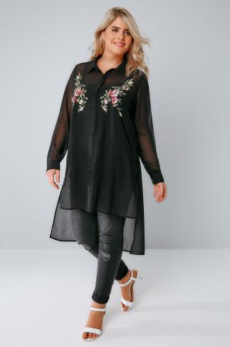 Black Sheer Longline Shirt With Embroidery Detail & Step Hem 156107