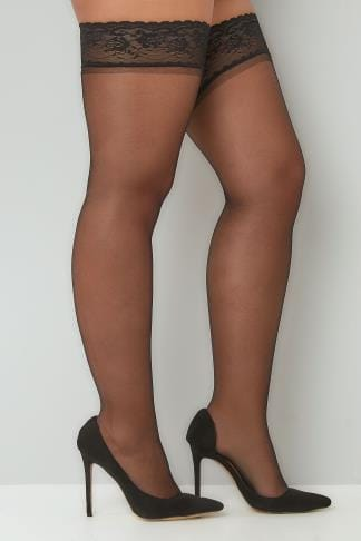 Stockings & Hold Ups Black Sheer Stocking With Lace Trim 102894