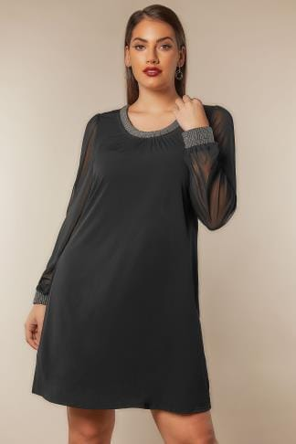 Black Dresses Black Slinky Jersey Shift Dress With Beaded Neckline & Cuffs 136166
