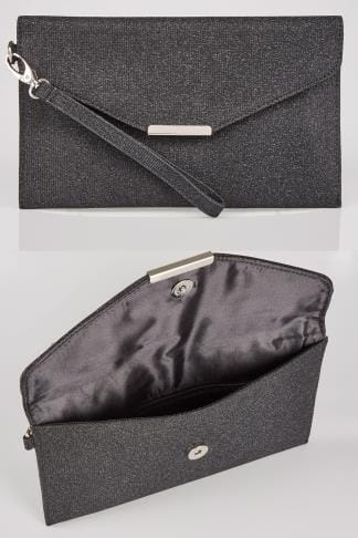 Bags & Purses Black Shimmer Envelope Clutch Bag 152305