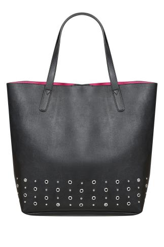 Bags & Purses Black Shopper Bag With Bright Pink Lining & Eyelet Details 101210