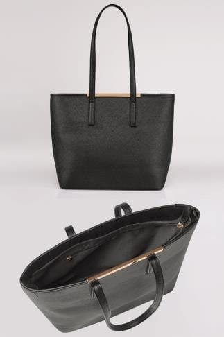 Black Shopper Bag With Metal Bar Detail