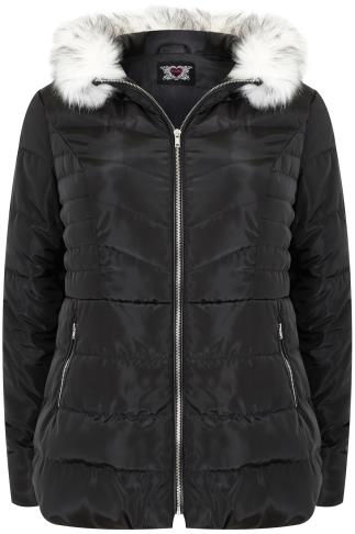 Black Short Puffer Jacket With Faux Fur Trim Hood