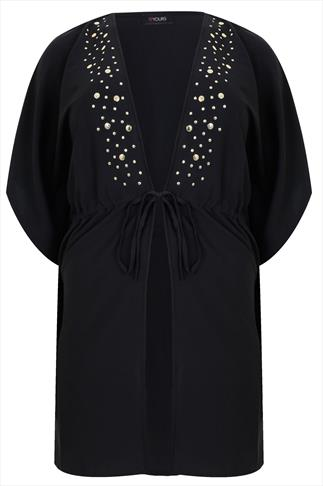 Black Short Sleeved Kimono With Silver Stud Detail