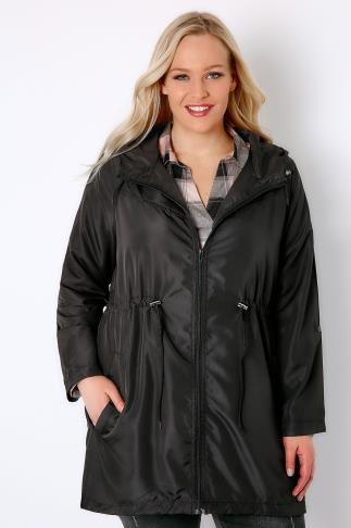 Black Shower Resistant Pocket Parka Jacket With Hood 102739