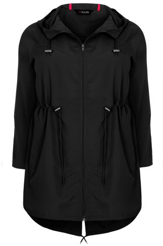 Black Shower Resistant Pocket Parka Jacket With Hood