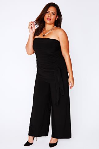Black Silky Jersey Jumpsuit With Ruched Top & Detachable Straps