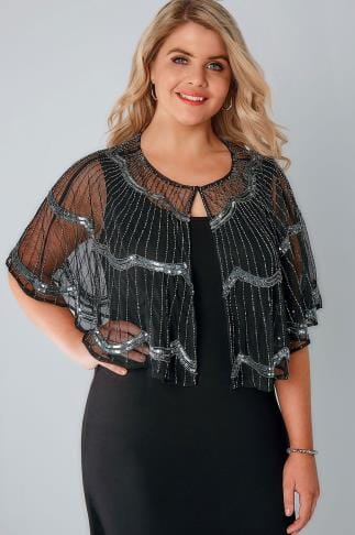 Shrugs Black & Silver Art Deco Cape Shrug With Bead Embellishment 156083