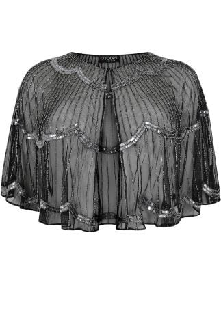 Black & Silver Art Deco Cape Shrug With Bead Embellishment