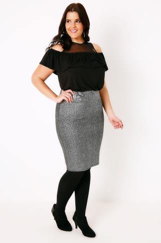 Pencil Skirts Black & Silver Foil Pull On Skirt 160005