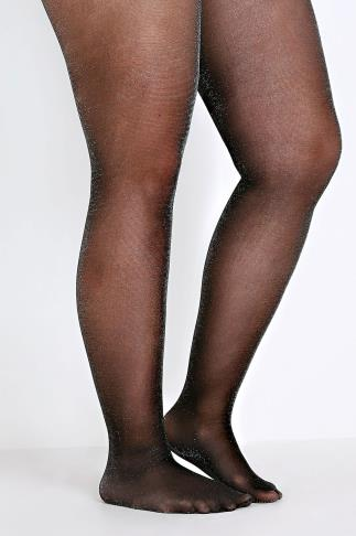Black & Silver Glitter Tights