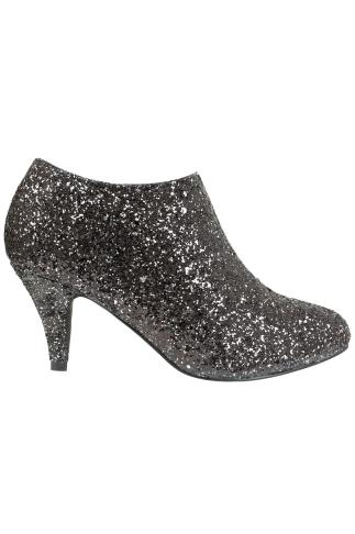 Wide Fit Ankle Boots Black & Silver Glitter Shoe Boots In EEE Fit 102203