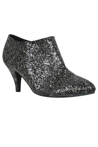 Black & Silver Glitter Shoe Boots In EEE Fit