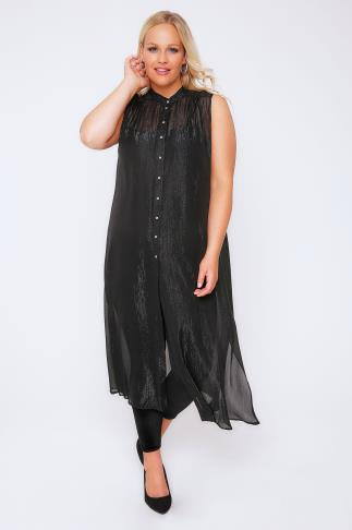 Black & Silver Metallic Thread Maxi Length Button Down Sleeveless Shirt