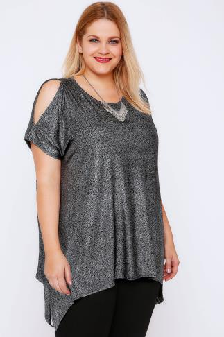 Black & Silver Shimmer Cold Shoulder Top 103043