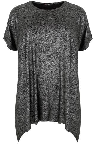 Black & Silver Shimmer Cold Shoulder Top