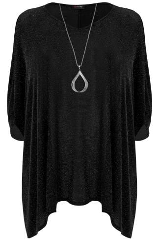 Black & Silver Sparkle Cape Top With Free Necklace