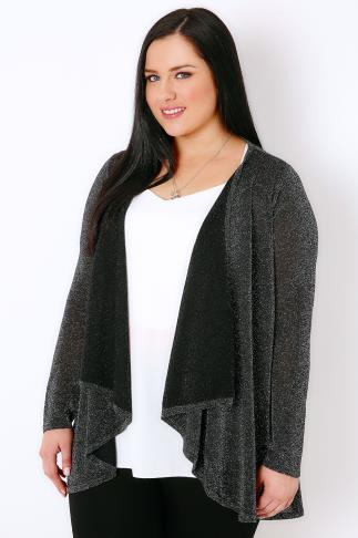 Black & Silver Sparkle Cardigan With Waterfall Front 102116