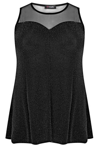 Black & Silver Sparkle Peplum Top With Mesh Sweetheart Neckline