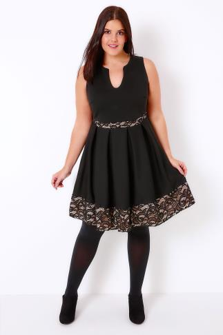Black Skater Dress With Nude Lace Panels & Notch Neck
