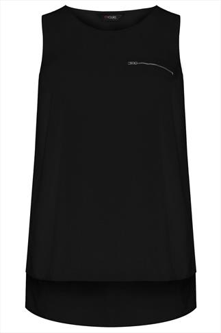 Black Sleeveless Dipped Hem Top With Zip Pocket Detail