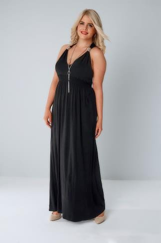 Schwarze Kleider Black Sleeveless Maxi Dress With Spring Details & Free Necklace 136131