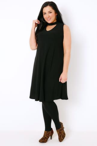Black Sleeveless Swing Dress With Choker Neckline