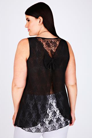 Black Sleeveless Top With Lace & Bow Back