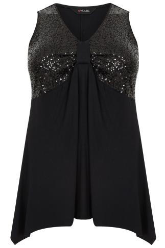 Black Sleeveless Trapeze Top With Sequin Bodice