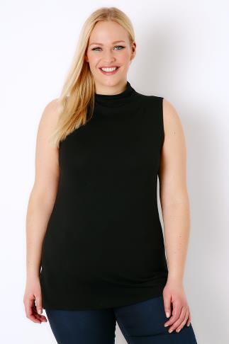 Black Sleeveless Turtle Neck Soft Touch Jersey Top