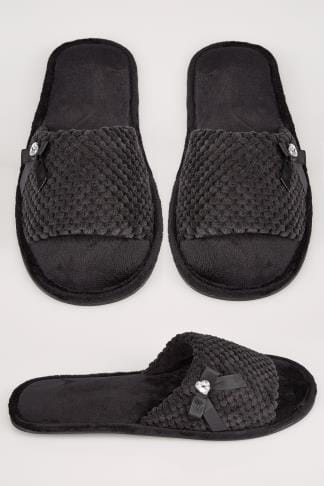 Wide Fit Slippers Black Slider Memory Foam Slippers With Bow & Diamante Detail 154072