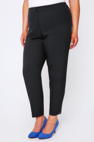 Tapered & Slim Fit Black Slim Leg Trousers With Stretch Waist 054129