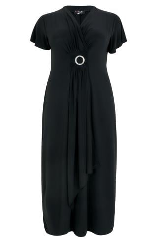 Black Slinky Drape Front Maxi Dress With Embellished Ring Detail