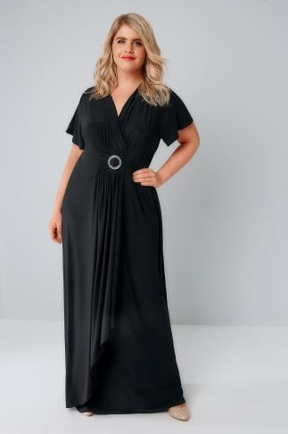 Maxi Dresses Black Slinky Drape Front Maxi Dress With Embellished Ring Detail 156135