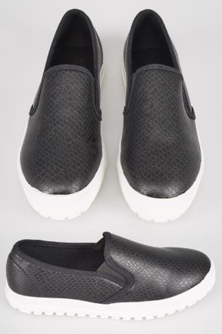 Wide Fit Trainers Black Snake Print Slip On Plimsolls With Chunky Cleated Sole In E Fit 057226
