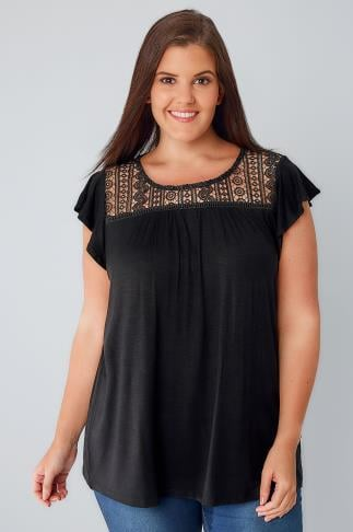 Jersey Tops Black Soft Textured Jersey Top With Crochet Panel 170121