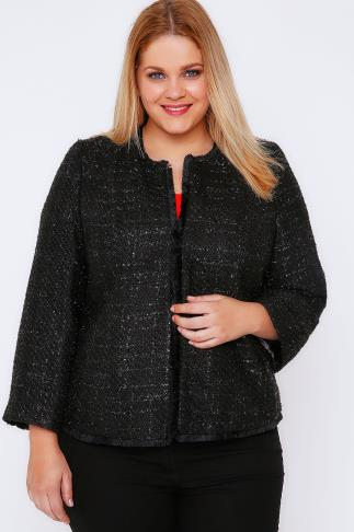 Black Sparkle Boucle Jacket With Fringe Trim 101019