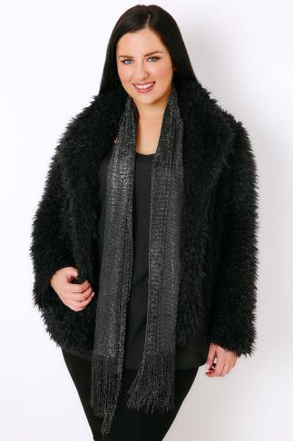 Black Sparkle Mesh Scarf With Tassels