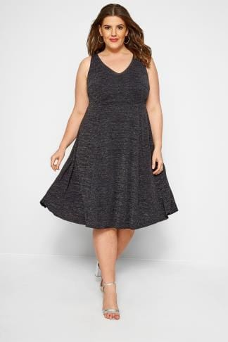 59042546 Black Sparkle Skater Dress, plus size 16 to 36