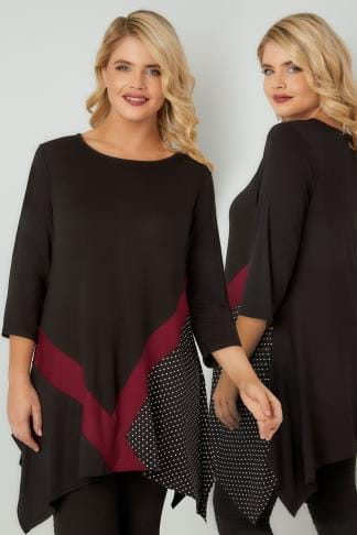 Longline Tops Black Spot Colour Block Longline Top With Hanky Hem 134295