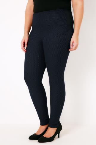 Black & Steel Blue Textured Treggings With Stretch Side Panels