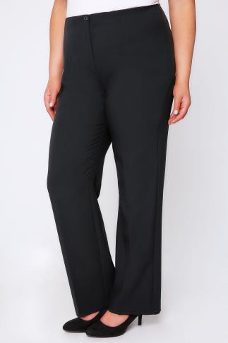 Straight Leg Trousers Black Straight Leg Trousers With Elasticated Waist & Invisible Zip 054127