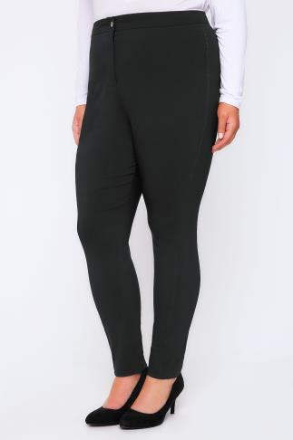 Black Stretch Bengalin Slim Fit Trousers