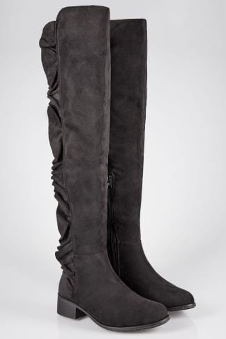 Black Stretch Over The Knee Boots With Side Frill Detail In E Fit