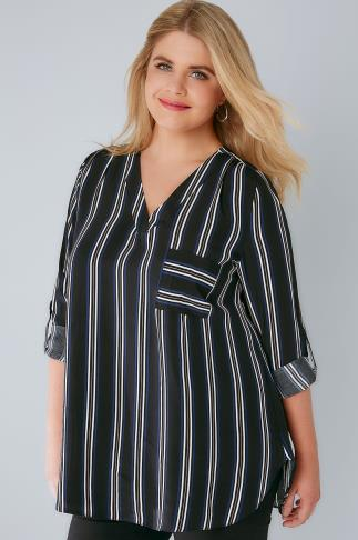 Black Stripe V-Neck Blouse With Roll Up Sleeves & Pocket Detail 156128