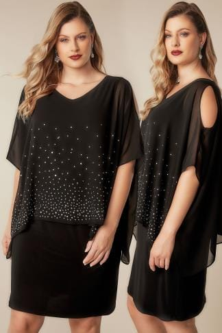 Evening Dresses Black Studded Layered Cape Dress 136186